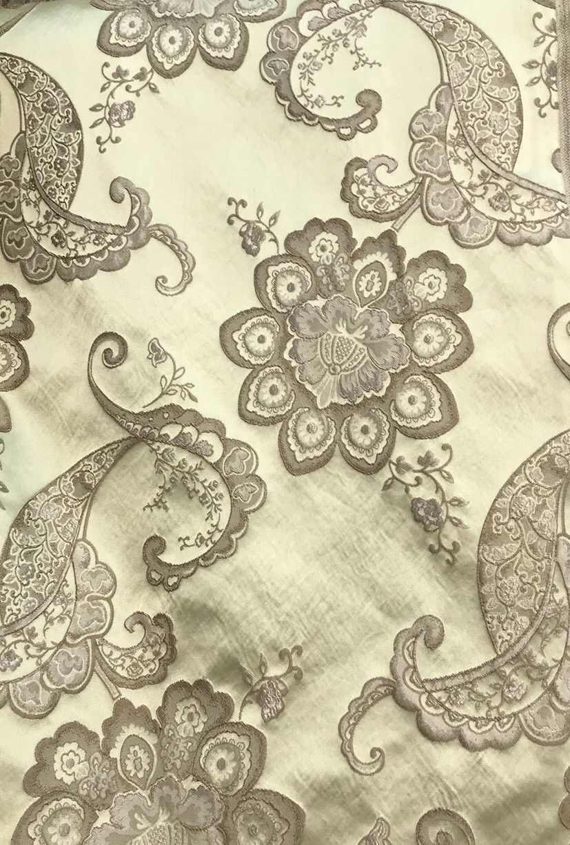 SALE! Designer Brocade Satin Fabric- Antique Taupe On Pale Yellow - Upholstery - Fancy Styles Fabric Boutique