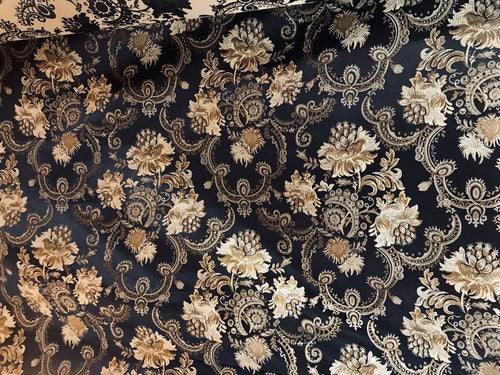 NEW Designer Brocade Jacquard Fabric- Black Gold Floral- Neoclassical Upholstery - Fancy Styles Fabric Pierre Frey Lee Jofa Brunschwig & Fils