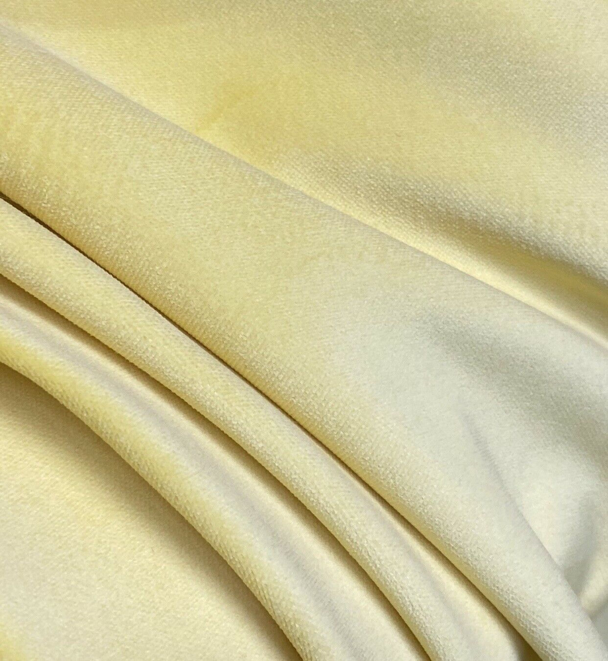 NEW! Prince Fabrielle - Designer Light Weight Cotton Velvet Upholstery Fabric - Soft- Light Yellow BTY