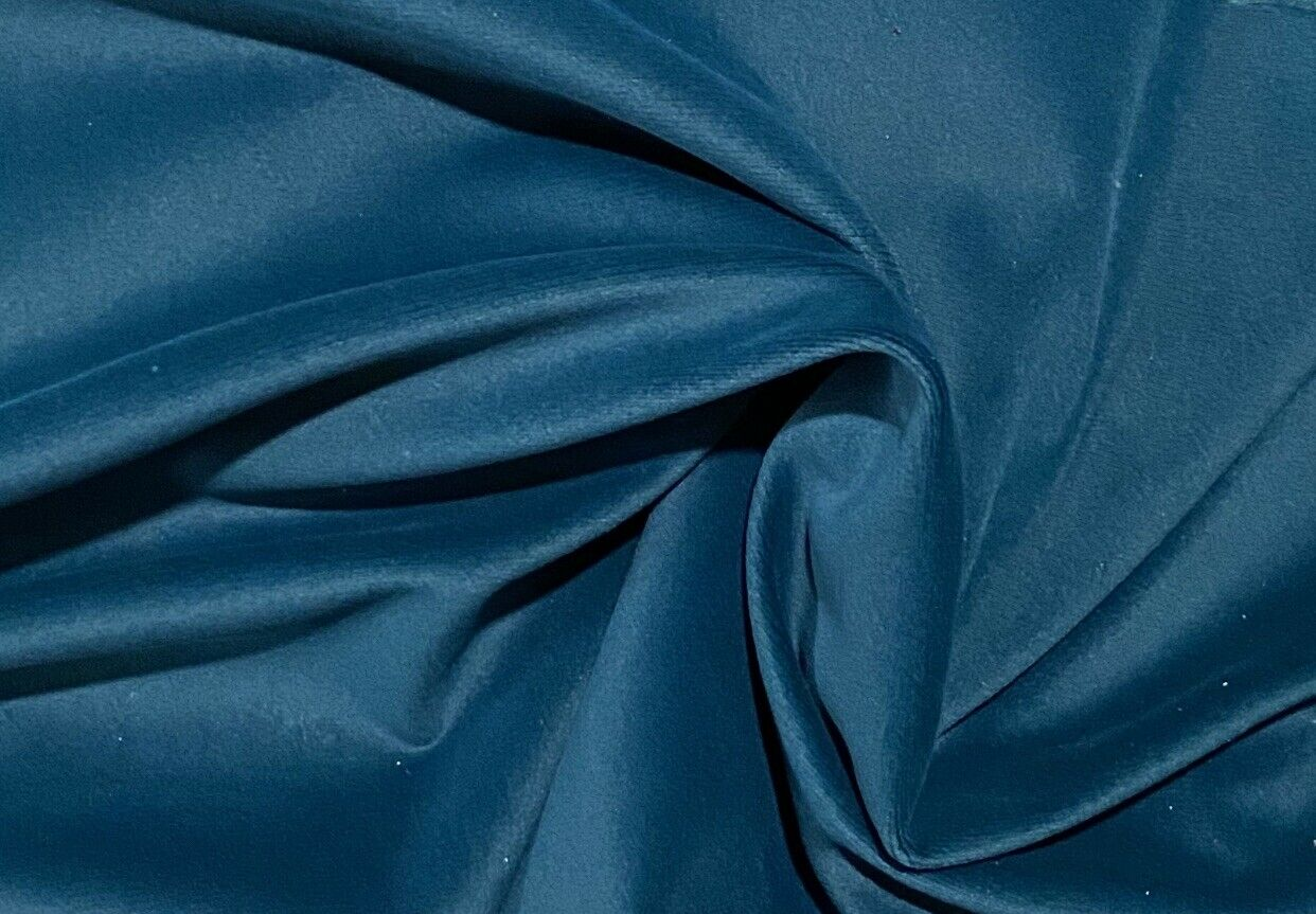 NEW Designer Drapery & Upholstery Velvet Fabric - Dark Teal Blue- Peacock