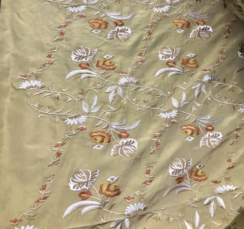 NEW! 100% Silk Dupioni Drapery Beige Taupe Embroidered Floral Fabric By The Yard