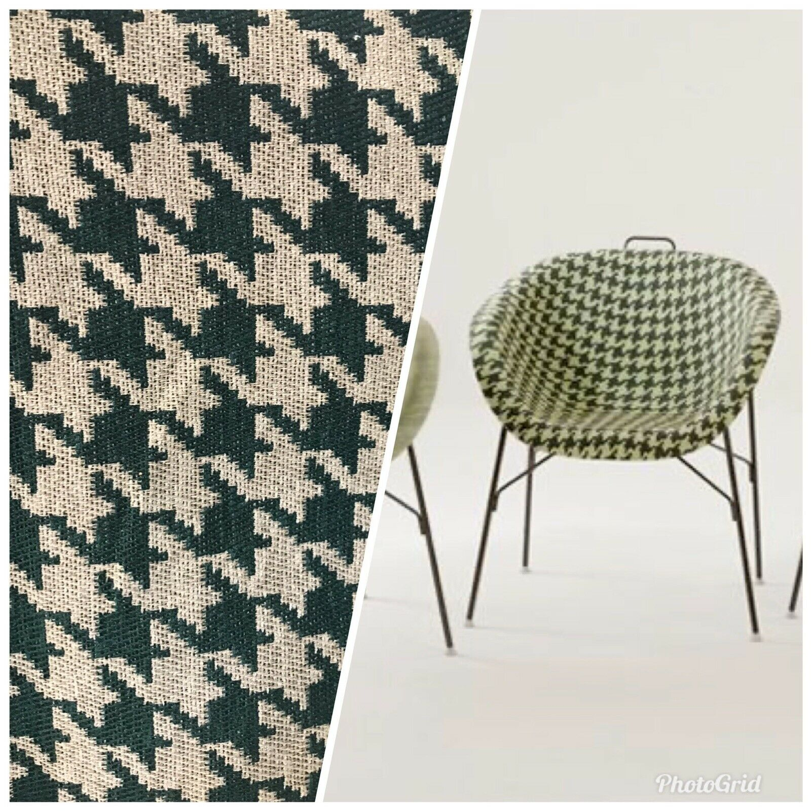 NEW Designer Upholstery Oversized Houndstooth Pattern Fabric - Green & Natural