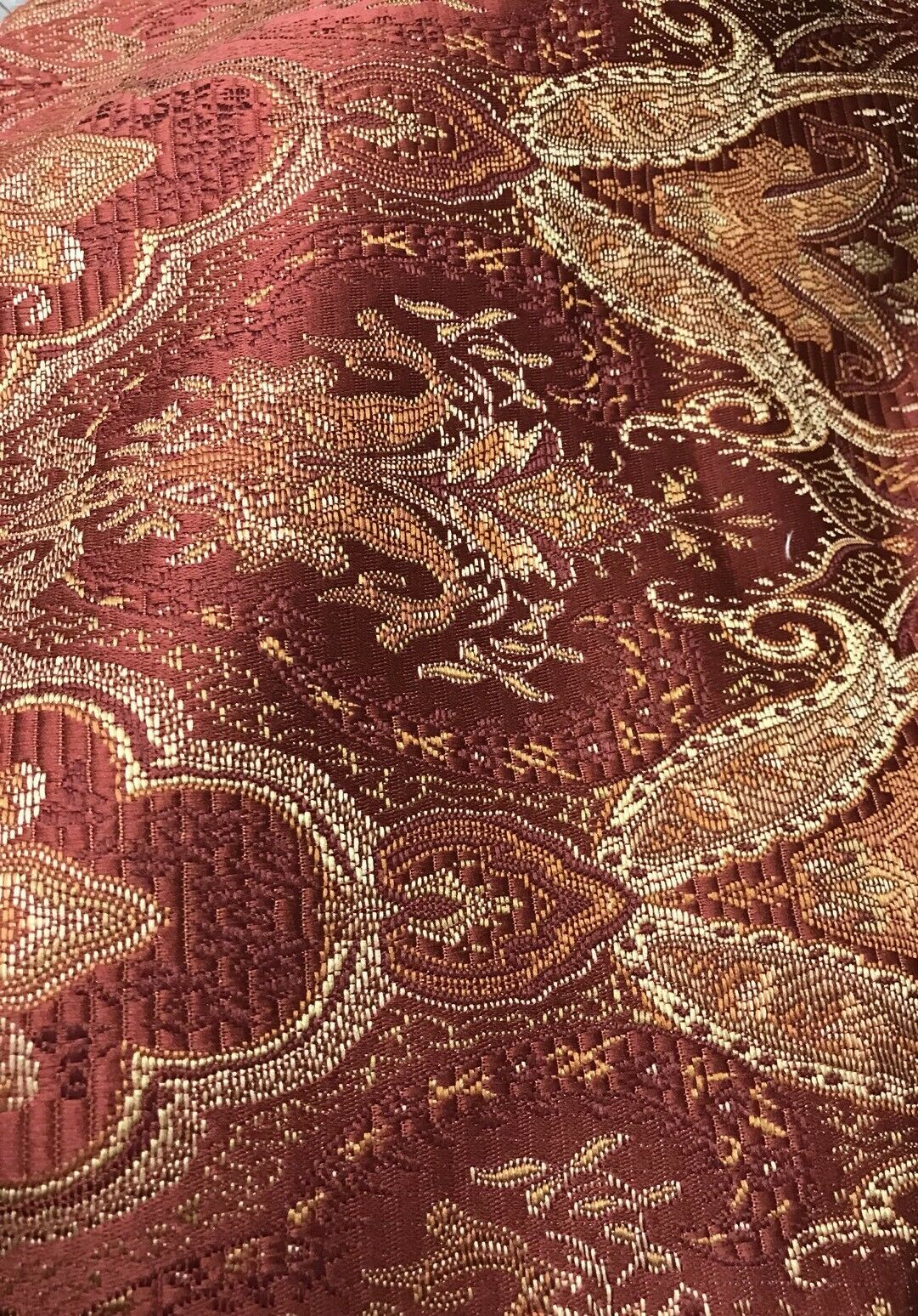 SALE! Designer Brocade Bohemian Upholstery Fabric - Wine Red- By The Yard