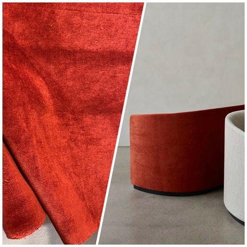 NEW! Designer Soft Heavy Weight Cotton Velvet Fabric -Burnt Red - Upholstery BTY