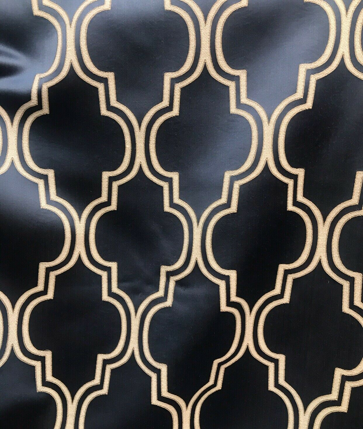 NEW! Designer Brocade Satin Geometric Fabric- Indigo Navy Blue BTY