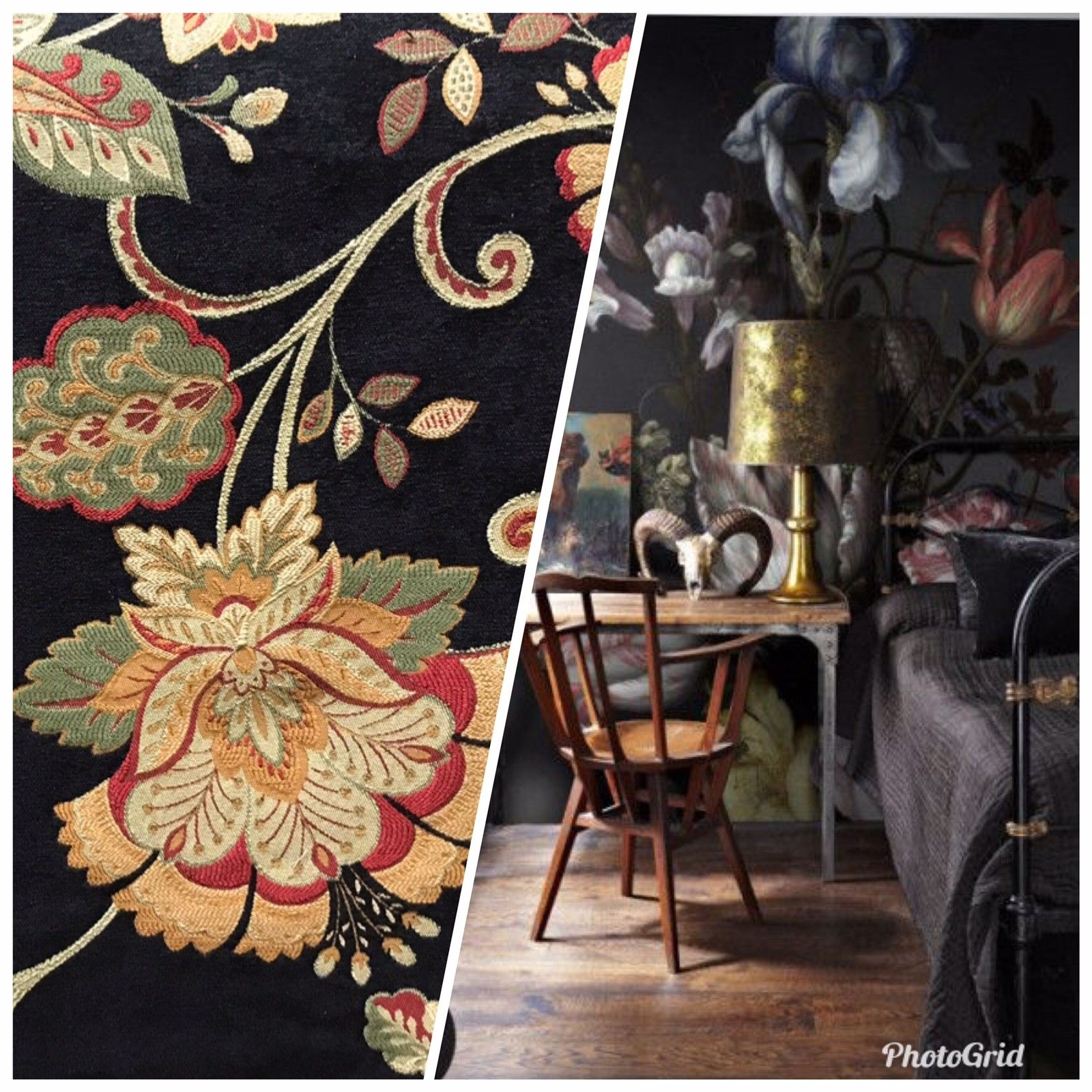 Designer Velvet Chenille Upholstery Decorating Fabric - Black Floral - Fancy Styles Fabric Pierre Frey Lee Jofa Brunschwig & Fils