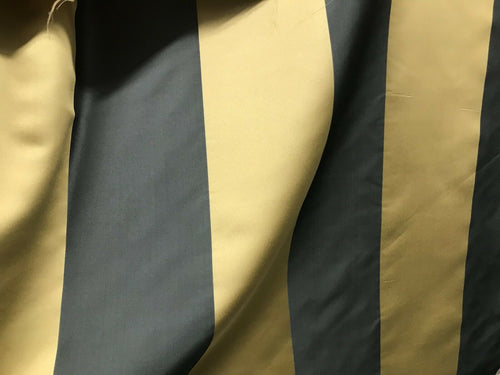 "60"" Wide- Designer Satin Drapery Fabric - 6"" Gold And Charcoal Gray Stripes"