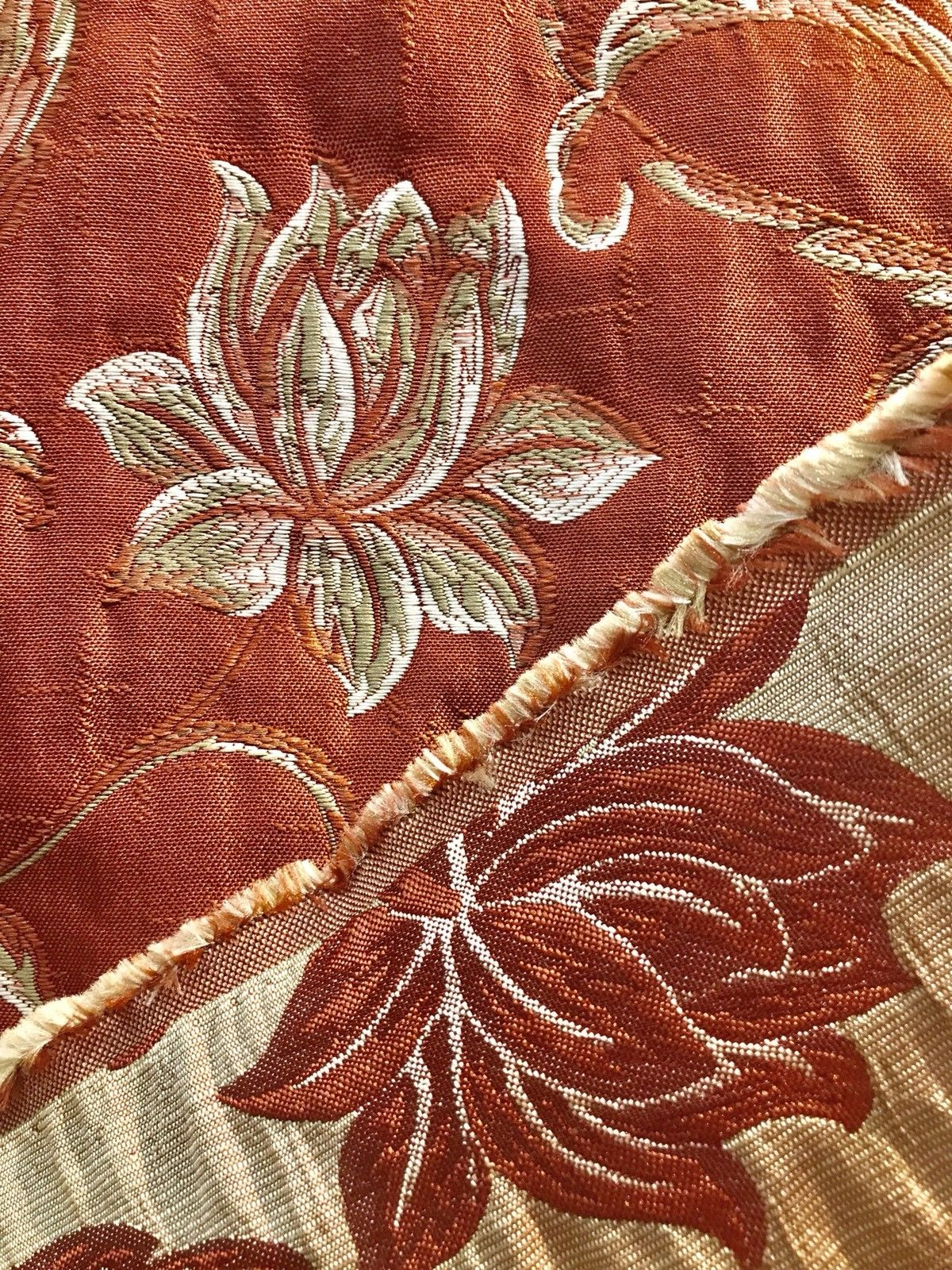 "SWATCH 4"" X 7"" - Quilted Brocade Floral Upholstery Fabric- Rust Brick Red - Fancy Styles Fabric Boutique"