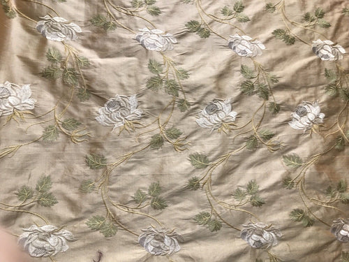 Designer 100% Silk Taffeta Embroidery Fabric - Antique Light Pink Beige Floral - Fancy Styles Fabric Pierre Frey Lee Jofa