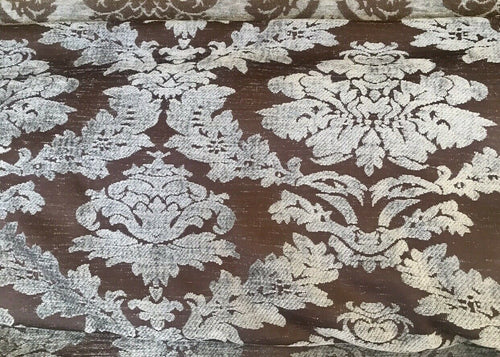 Designer Velvet Chenille Burnout Damask Upholstery Fabric - Brown Silver Grey