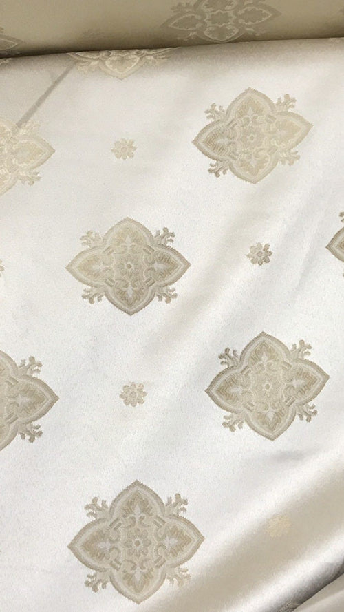 SWATCH- Designer Brocade Satin Fabric- Tone On Tone Cream- Upholstery Damask - Fancy Styles Fabric Boutique