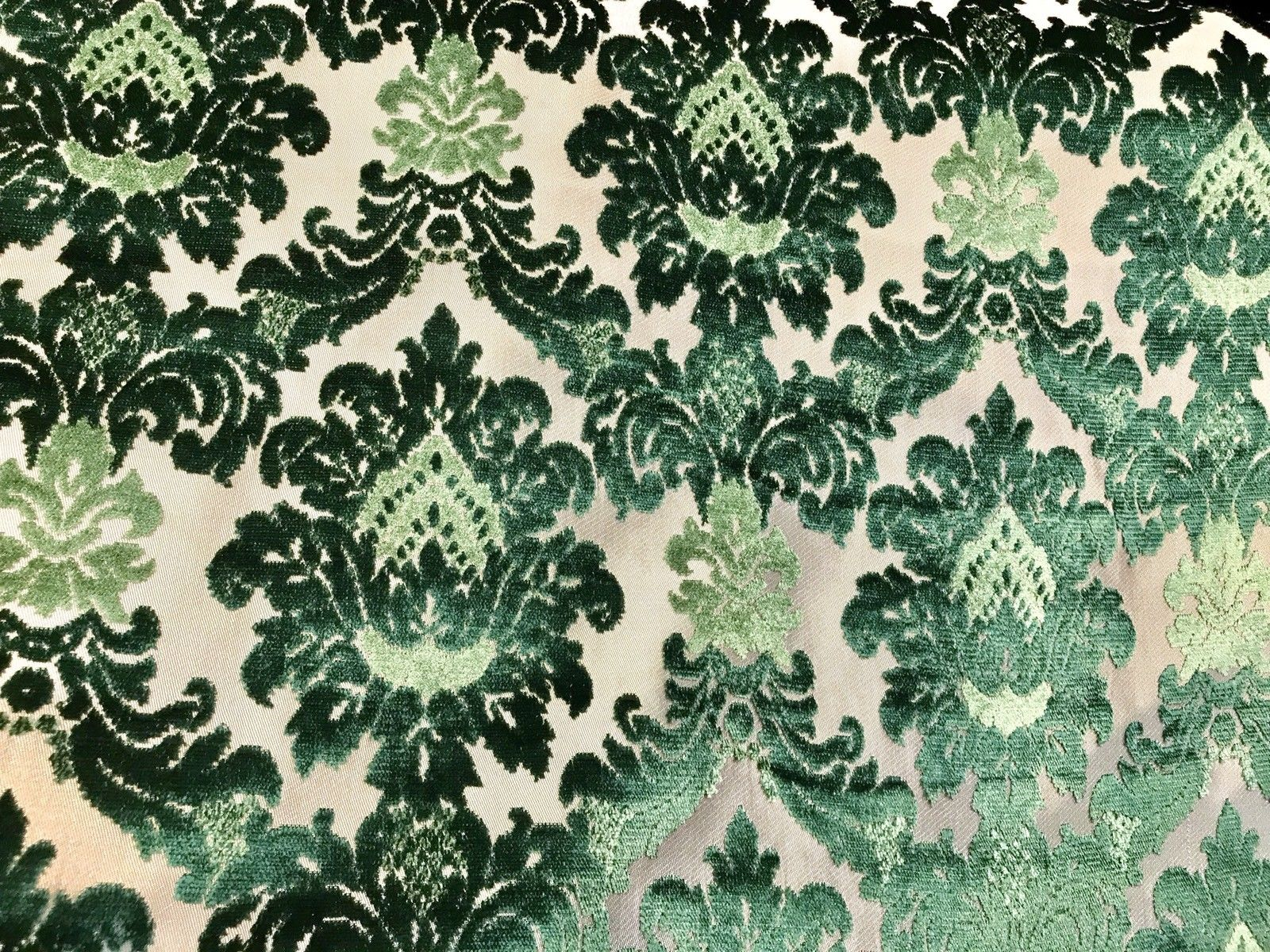 SWATCH Novelty Italian Designer Burnout Damask Velvet Upholstery Fabric - Green - Fancy Styles Fabric Boutique