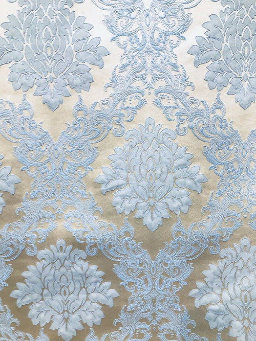 SALE Designer Brocade Damask Upholstery Decorating Fabric- Powder Blue