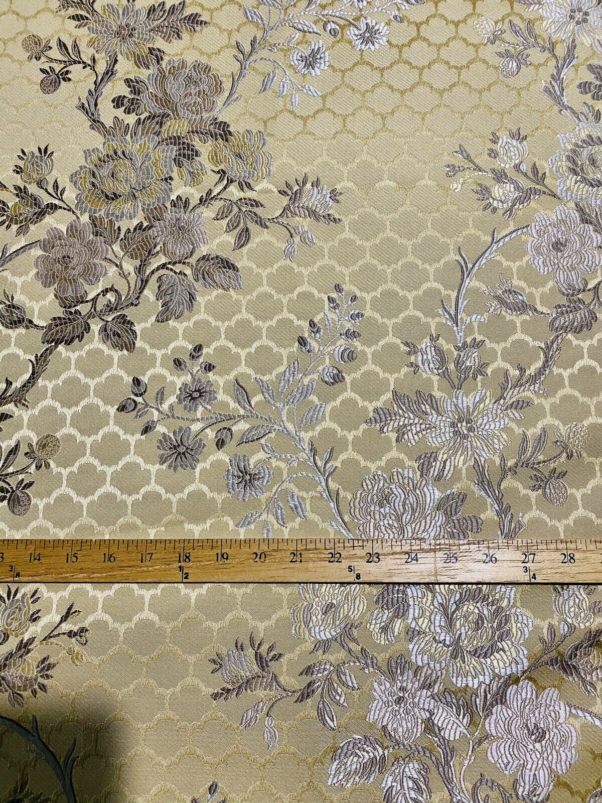 NEW Brocade Satin Floral Honeycomb Decorating & Upholstery Fabric-Antique Yellow