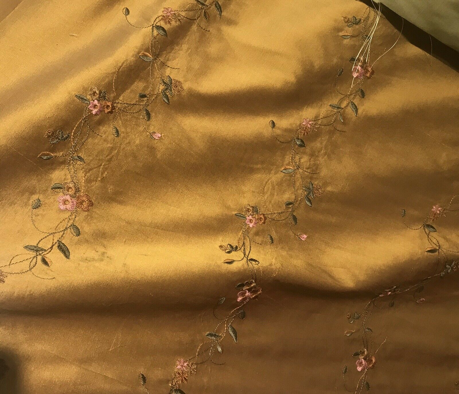 NEW! 100% Silk Dupioni Embroidery Floral Fabric- Copper Gold