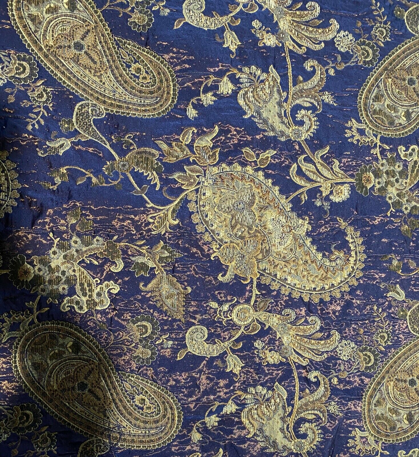NEW Brocade Satin Paisley Drapery Upholstery Fabric- Electric Blue, Copper, Gold