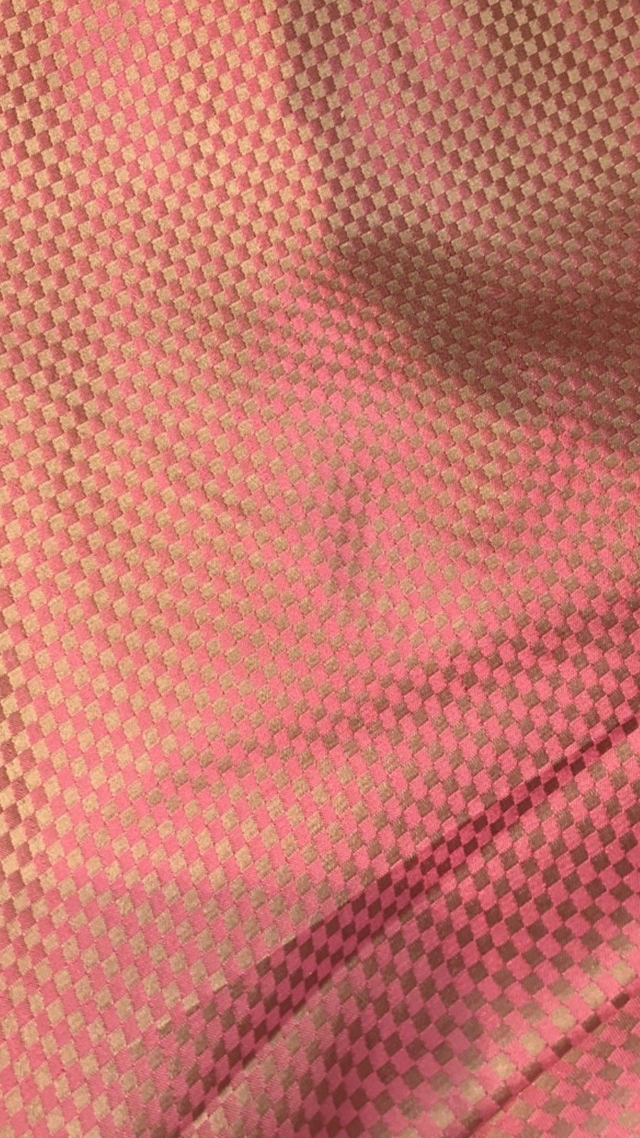 NEW! 100% Silk Taffeta Fabric - Coral And Iridescent Gold Checkered - Fancy Styles Fabric Boutique
