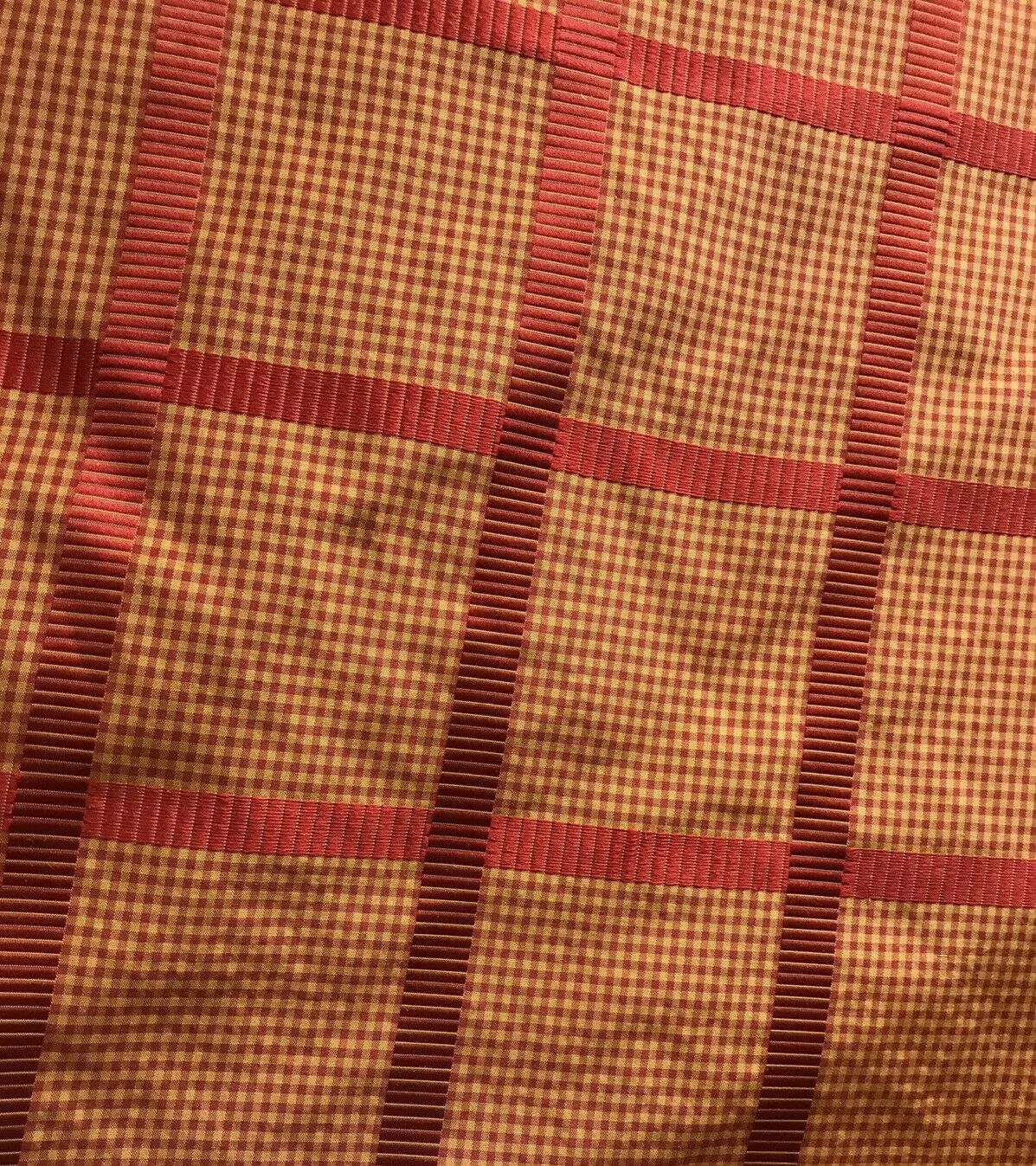 NEW! Designer 100% Silk Taffeta Gingham Ribbon Stripes Plaid Fabric -Red Gold