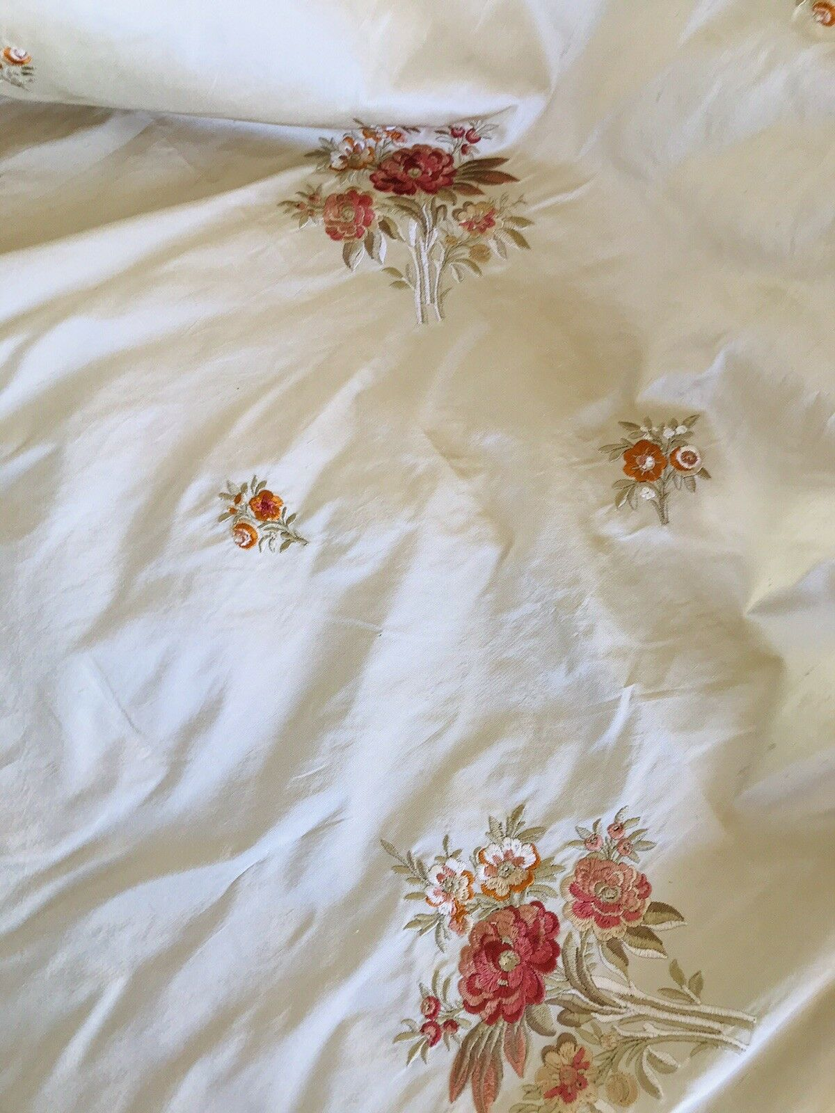 SALE 100% Silk Dupioni Embroidered Floral Fabric- Beige- Sold by the Yard