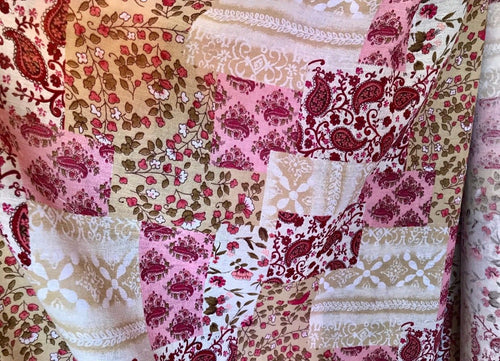 NEW! Designer 100% Cotton Gauze Fabric Bohemian Patchwork Pink By The Yard - Fancy Styles Fabric Boutique