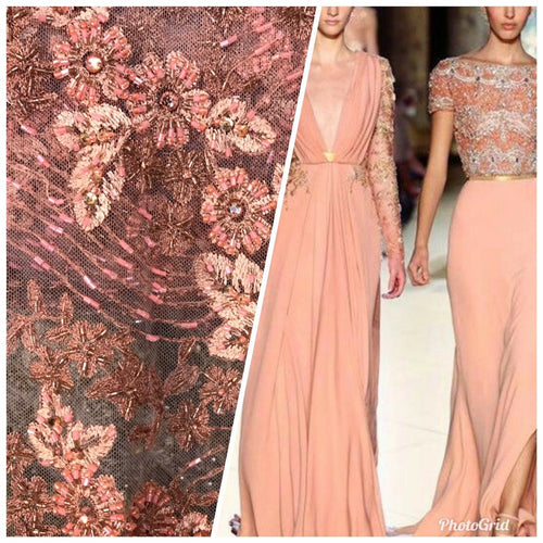 Beaded Peach & Coral Rhinestone Scalloped Edges Lace Mesh Floral Fabric
