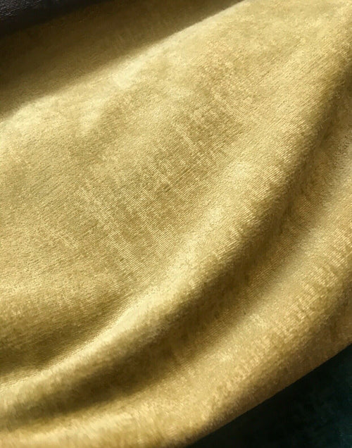 NEW! Designer Super Thick And Soft Chenille Velvet Fabric - Mustard Yellow BTY