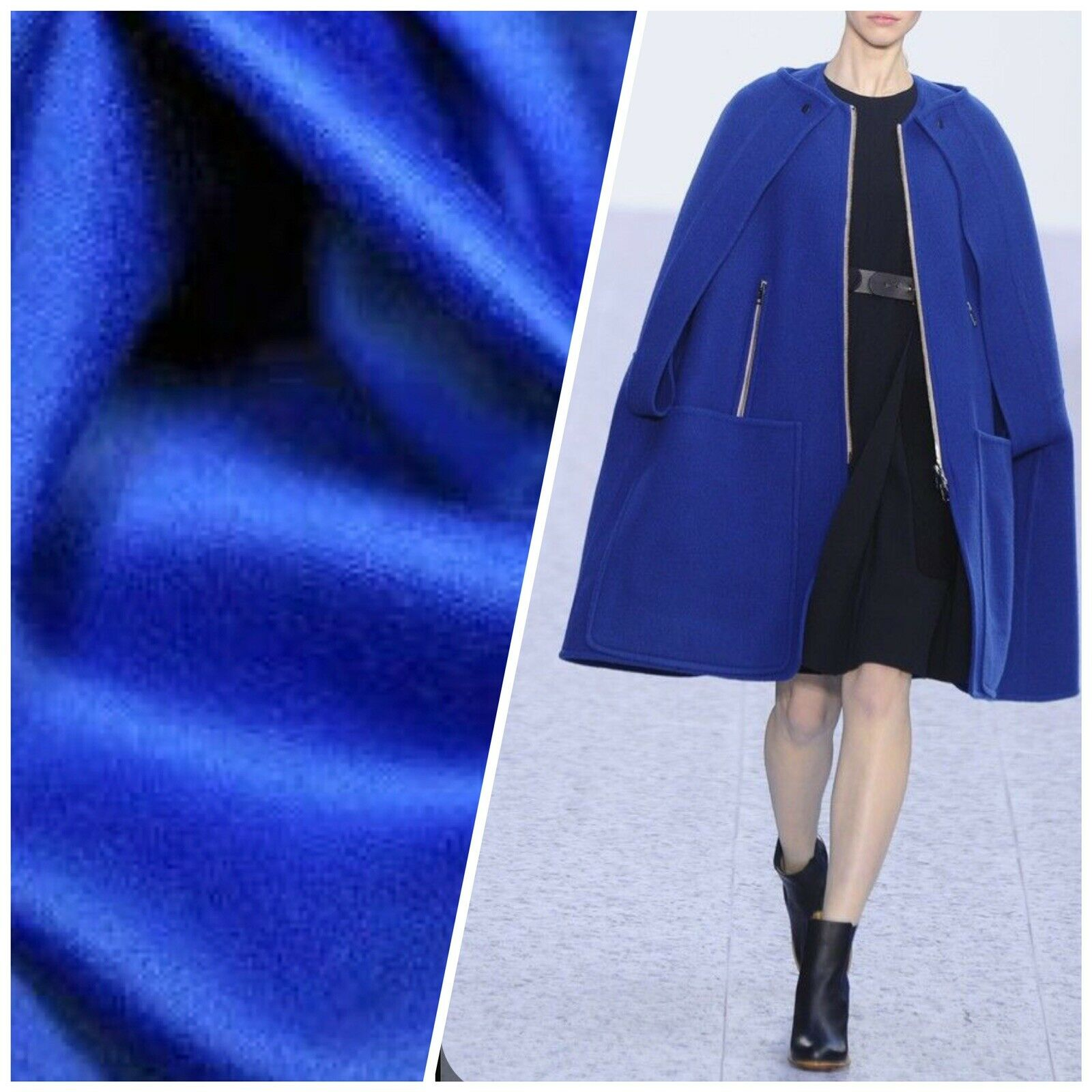 NEW Designer 100% Wool Blue Coat Fabric- By The Yard