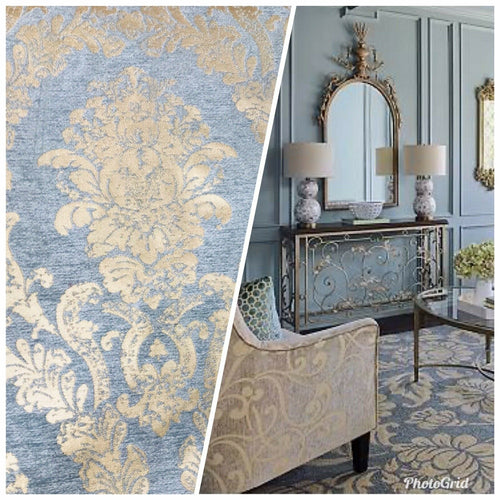 Designer Velvet Chenille Burnout Damask Upholstery Fabric - Blue & Gold