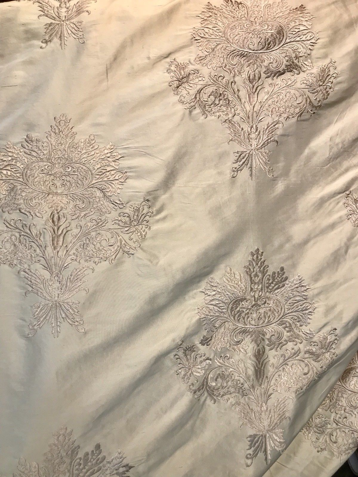 NEW Novelty Pink Embroidered 100% Silk Taffeta Fabric Antique Pink - Fancy Styles Fabric Boutique