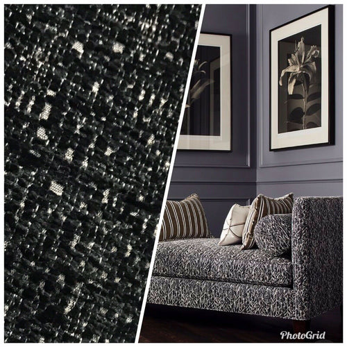NEW Designer Upholstery Heavyweight Tweed Fabric- Black White Melange- BTY