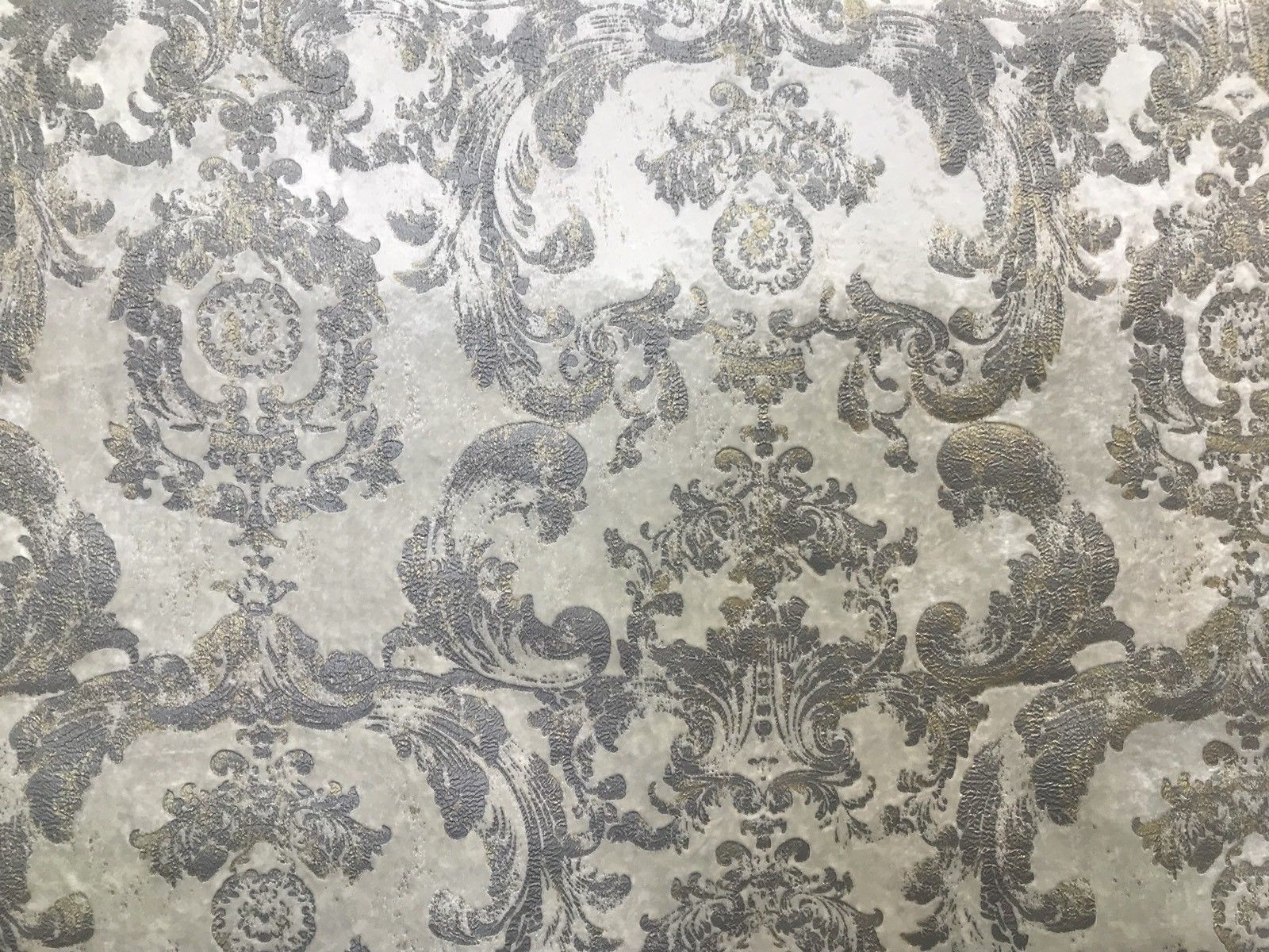 NEW! Antique Inspired Burnout Velvet Damask Fabric - White W/ Silver & Gray - Fancy Styles Fabric Boutique