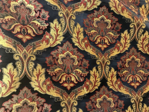 SALE! Designer Brocade Satin Jacquard Fabric- Antique Red Yellow Black - Damask - Fancy Styles Fabric Boutique