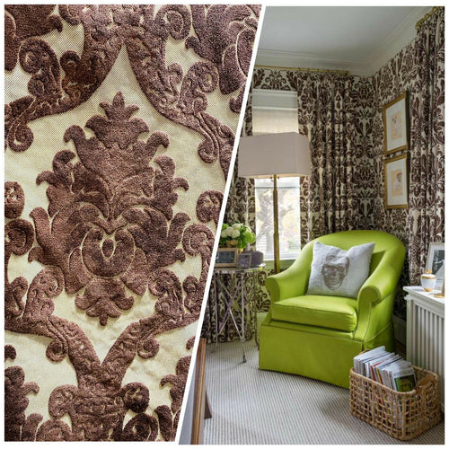 Designer Damask Burnout Chenille Velvet Fabric -  Brown BTY
