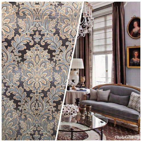 Imported Designer Damask Burnout Chenille Velvet Fabric - Blue & Gray BTY