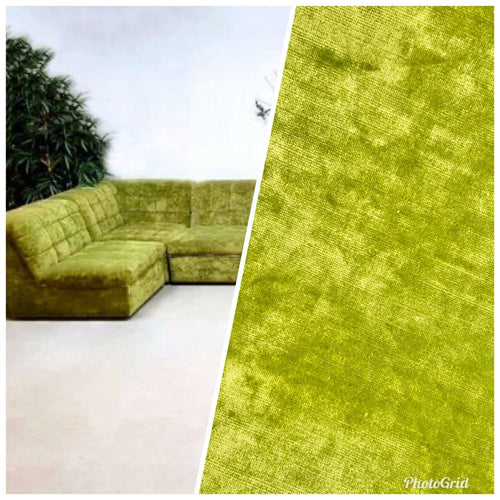 Designer Heavy Weight Velvet Upholstery Fabric - Soft- Dusty Lime Green BTY