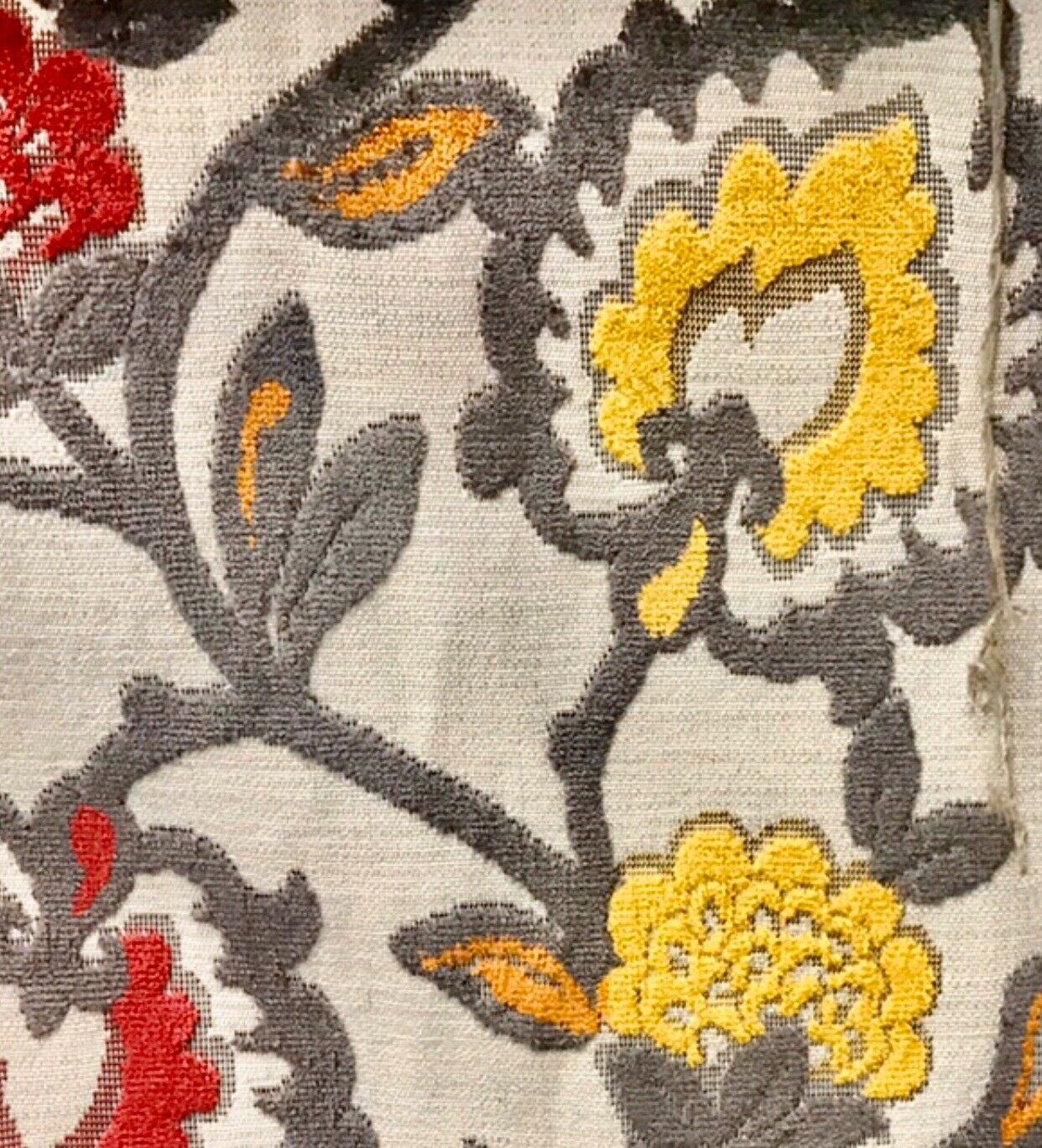 NEW Novelty Belgium Burnout Chenille Velvet Fabric Upholstery- Yellow Red Floral