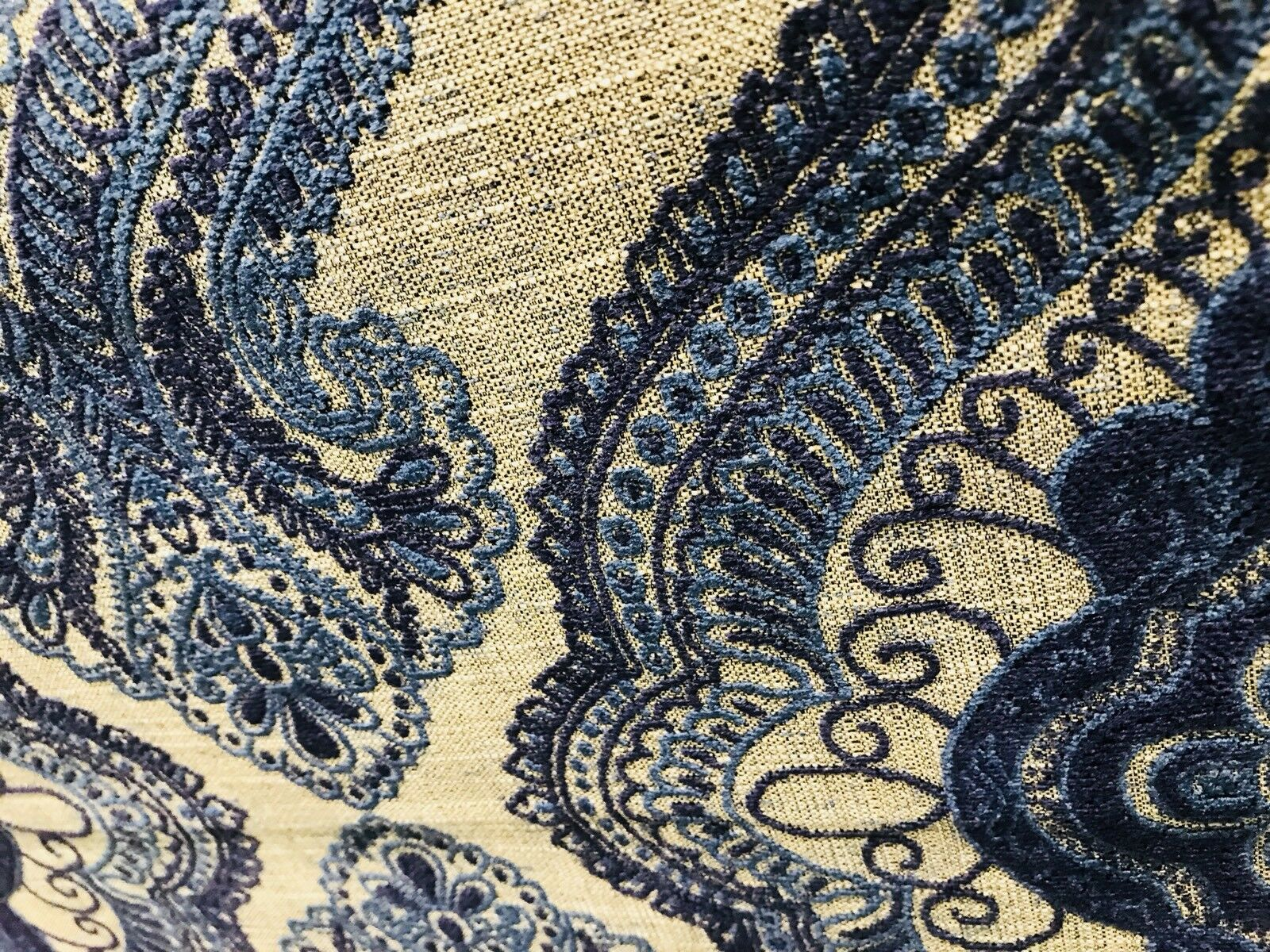 SWATCH Designer Burnout Linen Inspired Upholstery Fabric- Indigo Blue And Flax