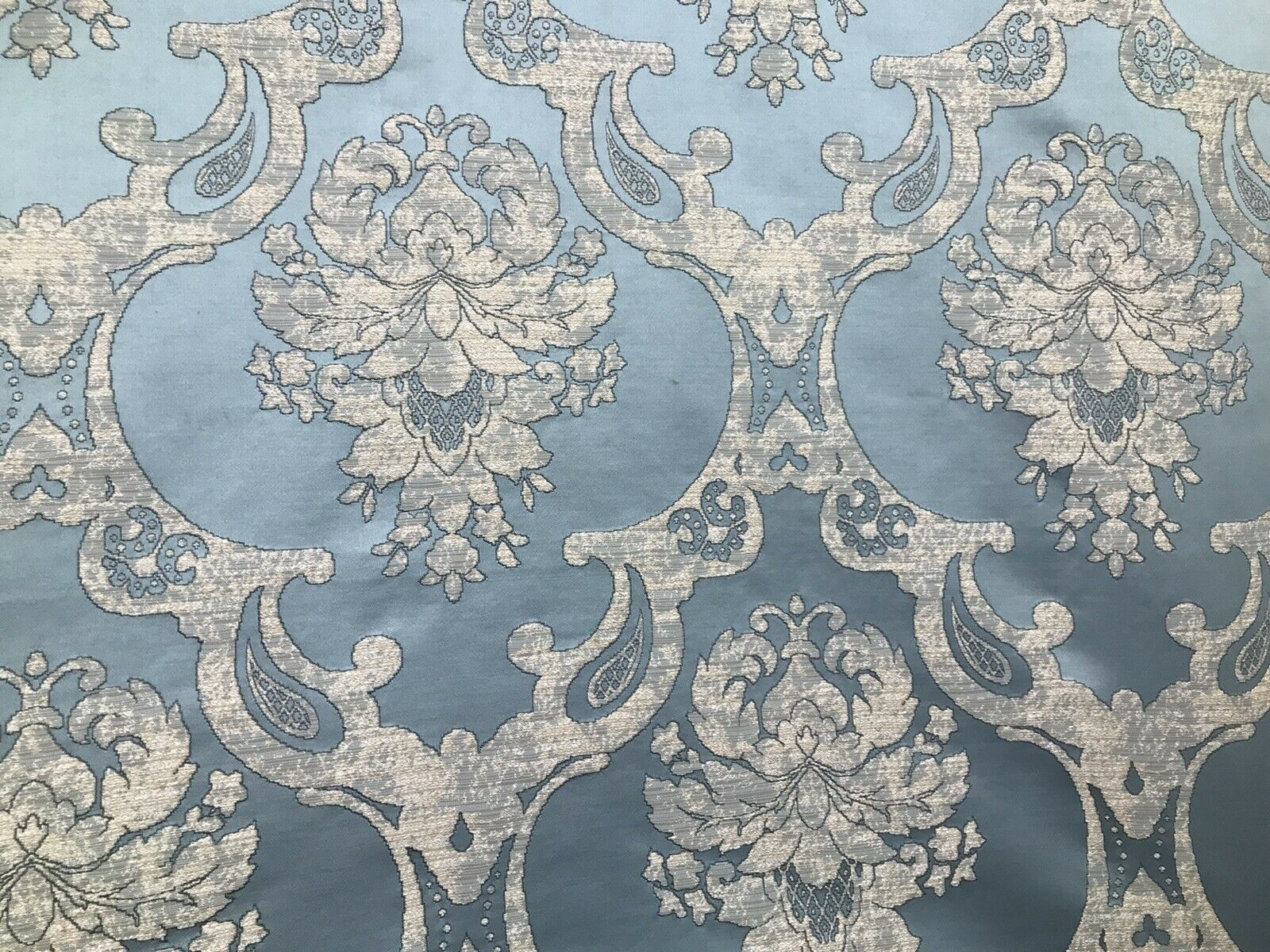 NEW Designer Satin Burnout Damask Drapery Upholstery Fabric - Blue BTY