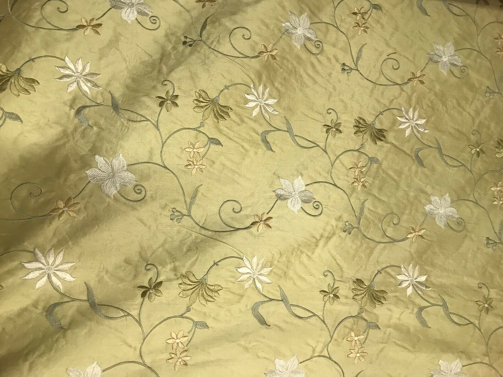 1 Yard Remnant- 100% Silk Dupioni Yellow Embroidered Floral Fabric GFSUY0001