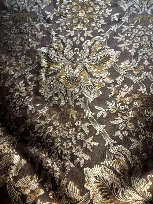 Price Drop! 100% Silk Taffeta Dupioni Floral Brocade Damask Fabric -Brown
