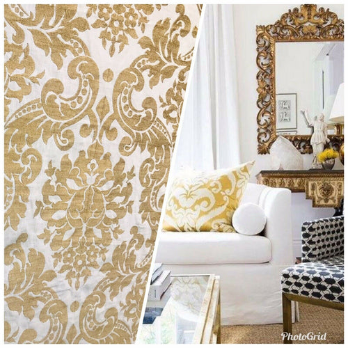 NEW Novelty Belgium Designer Imported 100% Linen Damask Fabric Gold