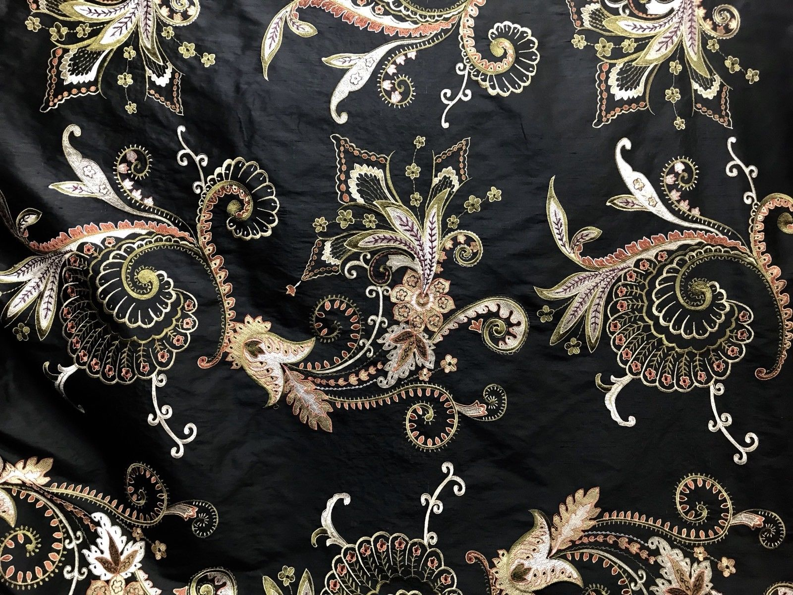 NEW Designer 100% Silk Taffeta Floral Embroidered Fabric - Black - Fancy Styles Fabric Pierre Frey Lee Jofa Brunschwig & Fils