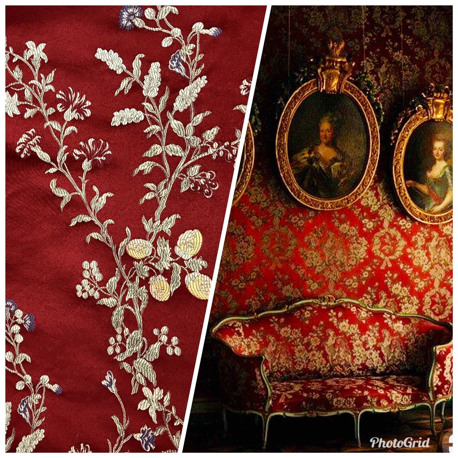 SWATCH Brocade Jacquard Satin Fabric - Dark Red Upholstery Damask - Fancy Styles Fabric Boutique