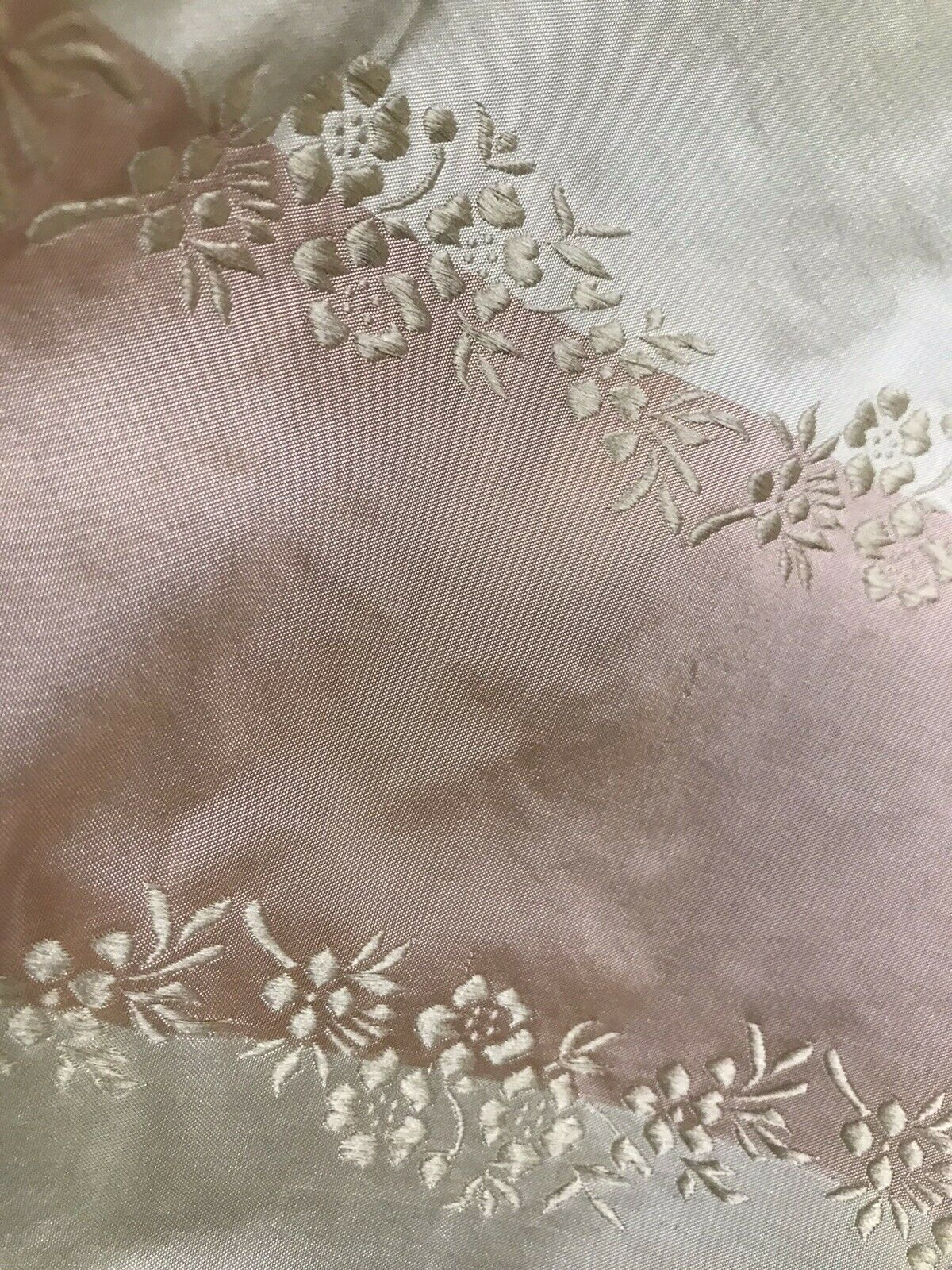 NEW Lady Kristen Designer 100% Silk Taffeta Embroidered Stripe Floral Fabric- Pink & Cream
