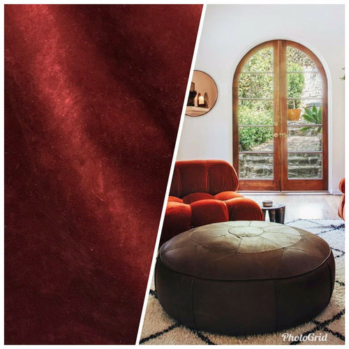 NEW Designer Velvet Upholstery And Drapery Fabric- Rust Red- Lightweight