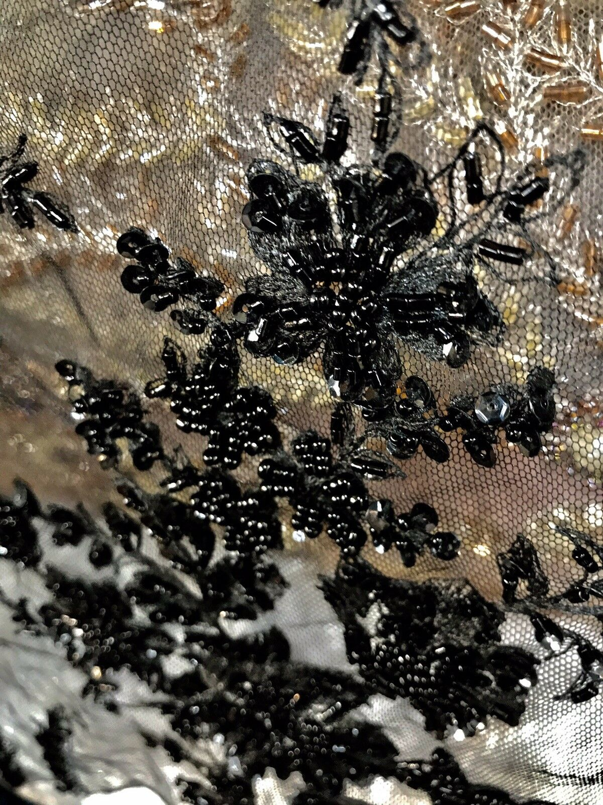 Beaded Black Pearl Scalloped Edges Wedding Lace Mesh Black Floral Fabric