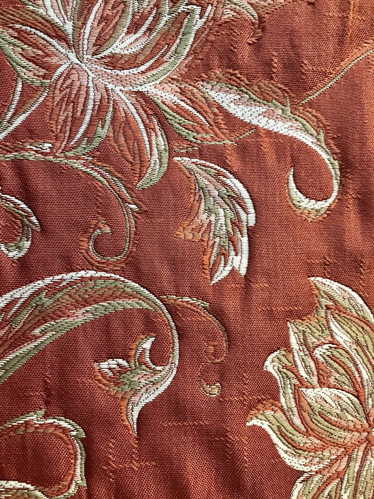 Swatch 4 X 7 Quilted Brocade Floral Upholstery Fabric