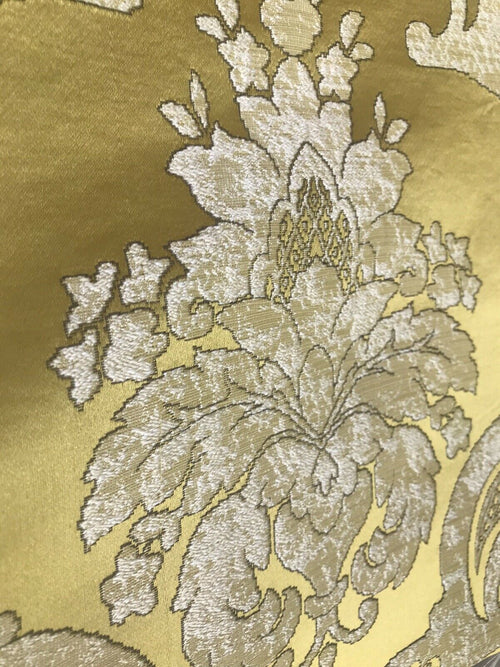 NEW Sir Darcey Designer Satin Burnout Damask Drapery Upholstery Fabric *Gold Yellow BTY