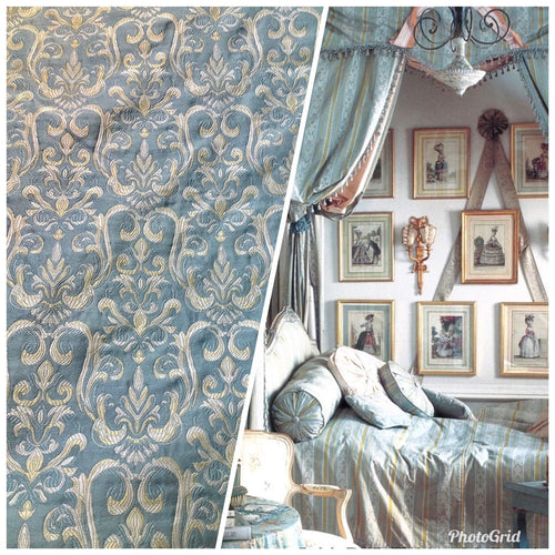 NEW Designer Damask Brocade Fabric - Pale Blue Cream And Yellow Gold- Upholstery - Fancy Styles Fabric Boutique