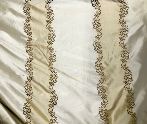 NEW! Designer 100% Silk Taffeta Embroidered Stripe Floral Fabric- Ecru & Gold